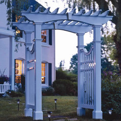 Yorkshire Garden Arbor - This arbor is stately and substantial. I like the fenced in sides - they would act as great trellises in addition to the arbor. It's a perfect frame for en entryway into a yard.