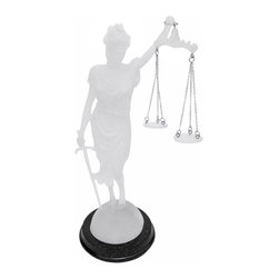 Zeckos - Desktop Lady Justice Crystal Look Statue with Scales Justicia Law - Lady Justice and Blind Justice are the names associated with the feminine image Themis, the goddess of Greek Mythology epitomizing the virtue of Justice. Holding a sword in one hand to represent power, scales in the other displaying impartiality, and blindfolded to assure fairness in judgment, this statue, 'La Justica' hearkens back to these ancient ideals. The scales hang independently from metal chains and the detail is incredible. The statue stands 10 3/4 inches tall, is 4 inches wide and 4 inches deep. Made of cold cast resin, it has a finish to give it the look of crystal. It's a great present for lawyers, judges, anyone on the field of law. Don't miss out on this awesome piece at a great price. Get yours now