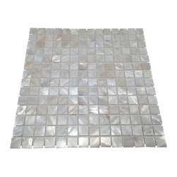 Stone Tile Mosaics - Mother of Pearl Oyster White Natural Sea Shell Tile - Premium Grade Mother of Pearl Sea Shell  mosaic tile for floor and wall use.