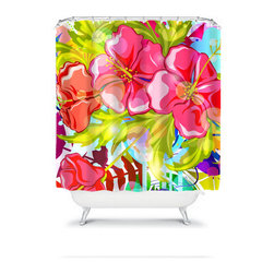 Shower Curtain Flower Lime Pink 71x74 Bathroom Decor Made in the USA - DETAILS: