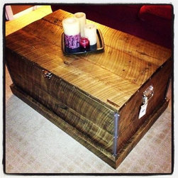 Reclaimed Wood Coffee Table Chest - Handmade reclaimed wood coffee table chest using rustic reclaimed barn wood sourced from a barn in Western PA. Accented with decorative metal and nail heads to give it a rustic + luxe look.