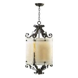 Quorum International - Delphi Four-Light Coffee Lantern Pendant - -Marigold Artisan Rectangle Glass Quorum International - 6821-4-13