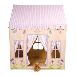 """Wingreen - WinGreen Large Cotton Playhouse - Butterfly Cottage - Enjoy summer all year round in our pretty lemon Butterfly Cottage. Trimmed with lilac and decorated with butterflies, dragonflies and flowers, this light and sunny playhouse is the perfect place to relax and dream the day away... 100% cotton. Easy to assemble with a light metal frame. Storage bag included. Size: 52.75"""" long x 43.30"""" wide x 64.96"""" high."""