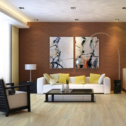 US Floors Cortech Plus Luxury Vinyl - USFloors COREtec Wood-Look Vinyl    collection showing in Ivory Coast Oak is made with groundbreaking core structure, which is comprised of recycled wood and bamboo dust, limestone, and virgin PVC (Polyvinyl Chloride)