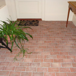 Inglenook Tile Design - Inglenook brick tiles are a beautiful and practical flooring for an entry or hall. They are durable, and stand up to the traffic and dirt of a well-traveled part of the home. This style is called Summer Kitchen.
