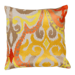 Surya Rugs - Golden Yellow and Poppy Red Polyester Filled 18 x 18  Pillow - - Liven up any space with this stylish design and colors of golden yellow and poppy red. This pillow has a polyester fill and zipper closure. Made in India with one hundred percent cotton this pillow is durable and priced right  - Cleaning/Care: Blot. Dry Clean  - Filled Material: Polyester Filler Surya Rugs - AR072-1818P