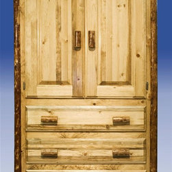 "Montana Woodworks - Glacier Country Armoire - Handcrafted. Two raised panel doors. Edge glued panels. Three drawers. Easy glide drawer slides. 20 years limited warranty. Made from solid, American grown pine. Hand-crafted in the US, each Montana Woodwork product is made from unprocessed, solid wood that highlights the character of its source tree with unique knots and grains. Made in USA. No assembly required. Storage Area:  40 in. W x 21 in. D x 38 in. H. Overall: 45 in. W x 25 in. D x 72 in. HThis rustic, handcrafted armoire will bring rustic charm into any room of your home. The armoire can be used for a variety of purposes from wardrobe storage to securely displaying your television monitor or display. Montana Woodworks ""Glacier Country"" furniture is nicely finished in a truly unique, one-of-a-kind look reminiscent of the Grand Lodges of the Rockies, circa 1900. First we remove the outer bark while leaving the inner, cambium layer intact for texture and contrast. Then the finish is completed in an eight step process that applies stain and lacquer for a beautiful, long lasting finish. A one-inch removable dowel spans the width of the inside to allow for hanging of clothing."