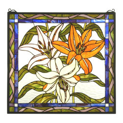 Meyda Tiffany - Meyda Tiffany Tiger Lily Staine Glass Tiffany Window X-41617 - Three large tiger lily flowers dazzle and delight on this Meyda Tiffany stained glass window. From the Tiger Lily Collection, this beautiful design incorporates eye-catching shades of purple-blue with soft hues of yellow, cream and green. A bold orange tiger lily flower completes the look.