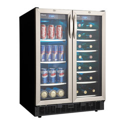 Danby - Silhoutte 5.3 CF Beverage Cooler - The Danby DBC2760BLS 5.0 Cu. Ft. Silhouette Beverage is a French door inspired beverage center, which boasts two independently controlled temperature zones for wine and beverage storage. It offers the perfect balance for entertaining. One compartment can hold up to 60 beverage cans while the other can store up to 27 bottles of wine. It includes a Cool Blue LED track lighting system that beautifully showcases contents without the added heat of an incandescent bulb.5.0 cu. ft. (140L) capacity beverage center|27 bottle capacity in wine compartment|60 can capacity in beverage compartment|Integrated application|Cool blue LED lighting illuminates the interior|Integrated door lock|Precise digital thermosat with LED display|Temperature range 4�C - 18�C (39�F - 64�F) per compartment|7 sliding wire shelves and 4 tempered glass shelves|Tempered glass French door design with stainless steel trim|  danby| dbc2760bls| 5| 5.0| 5cf| 5.0cf| cu.| ft.| cu| ft| silhouette| beverage| center| french| door| doors| design  Package Contents: silhouette beverage center|manual / warranty  This item cannot be shipped to APO/FPO addresses