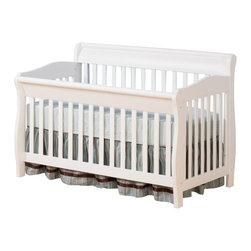 Atlantic Furniture - Atlantic Furniture Versailles Convertible Crib in a White Finish - Atlantic Furniture - Cribs - J98202 - Designed to adapt to the needs of a growing child Atlantic cribs convert from a crib to a day bed and then a full size bed. All cribs are manufactured with solid Eco-Friendly hardwood. Steel fasteners and solid hardwood construction exceeds industry standards for safety. Mortise and tennon side panel construction provides unsurpassed strength and durability. Our five step finishing process is non-toxic and lead free. Each crib has a 5 position adjustable mattress support system and converts to a full size bed with the addition of a bolt on metal bed frame.Features: