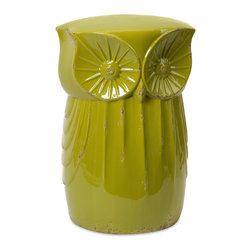 iMax - iMax Norris Owl Garden Stool X-46296 - With an enchanted appearance, the Norris owl garden stool has a crisp green finish and whimsical character.