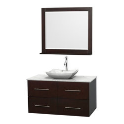 "Wyndham Collection - Centra 42"" Espresso Single Vanity, White Carrera Marble Top, Carrera Marble Sink - Simplicity and elegance combine in the perfect lines of the Centra vanity by the Wyndham Collection. If cutting-edge contemporary design is your style then the Centra vanity is for you - modern, chic and built to last a lifetime. Available with green glass, pure white man-made stone, ivory marble or white carrera marble counters, with stunning vessel or undermount sink(s) and matching mirror(s). Featuring soft close door hinges, drawer glides, and meticulously finished with brushed chrome hardware. The attention to detail on this beautiful vanity is second to none."