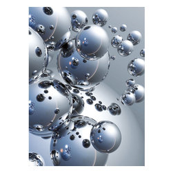 Silver Orbs Wall Mural - Shiny silver orbs make a modern artistic statement in this unique wall mural.