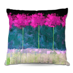 DiaNoche Designs - Pillow Woven Poplin - Fuschia Trees - Toss this decorative pillow on any bed, sofa or chair, and add personality to your chic and stylish decor. Lay your head against your new art and relax! Made of woven Poly-Poplin.  Includes a cushy supportive pillow insert, zipped inside. Dye Sublimation printing adheres the ink to the material for long life and durability. Double Sided Print, Machine Washable, Product may vary slightly from image.