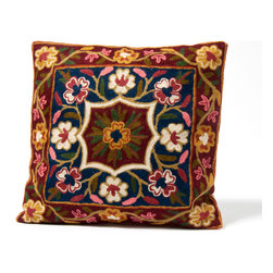 Sitara Collections - Floral Cushion Cover from Kashmir with Dense Chain Stitch Hand Embroidery - Lend a pop of color to your couch, bed or chair with a cushion cover that offers a touch of sophistication. All the way from Kashmir, India, this cushion cover features rich, all-over ari embroidery in wool thread on pure cotton.