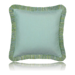 Elaine Smith - mist fringed pillow (17x17) - Performance pillows from renowned textile designer Elaine Smith® feature unique fabrics that are both soft and stylish, rich in color, lavish in detail, and impervious to the elements.
