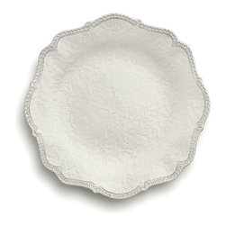 Merletto Antique Scalloped Dinner Plate - Soft floral lace designs cover the surface of the Merletto Antique Scalloped Dinner Plate, while the edges are bordered in a simpler lace pattern that emphasizes the handsome scallop edging the dish. Perfect for the head table at a top-of-the-line wedding or for conveying a lush, graceful look to your dinner settings, this elite plate was handmade by artisans in Italy.