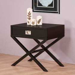 None - Napa Black 1-drawer Bedside Table - This stylish wood beside table is ideal for use next to any bed. Its unique design is eye-catching and the drawer provides storage for any items that you may want to keep out of sight. The rich color will match with any decor to create an elegant look.
