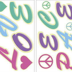 WallPops - Peace & Love Glow in the Dark Wall Art Decal Kit - This Peace & Love Wall Art kit makes a groovy design with a wonderful message on your walls  that keeps the harmony alive  even when  the lights go out. Peace and love are always in style and these  repositionable & reusable stickers are extra fashionable with glow in the  dark allure.