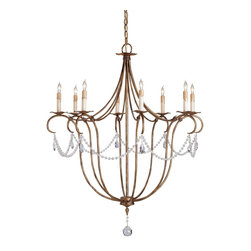 Currey and Company - Crystal Light Chandelier - The perfect proportions of this beautiful form are augmented by a sparing use of crystal ornamentation. This chandelier satisfies both the traditional and the contemporary.