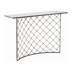 Arteriors - Finch Console - Prepare for the perfect entry! You get a console table that makes a solid statement, topped with black marble on a curved iron grid base. Style it up with a bowl of decorative spheres to offset the gold spheres in the mesh, or use the space in the arched base to tuck in a large decorative urn.