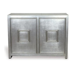 Port 68 - Port 68 Avenue Cabinet-Silver - Burnished silver leaf is reflected on the Avenue Cabinet. Adjustable single interior shelf adds additional storage and allows flexibility behind the double raised panel doors. Magnetic touch latch closure hardware.