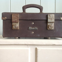 Vintage Small Brown Leather Henselite Lawn Bowls Suitcase by Miss Peggy's - Wouldn't this vintage storage tote be a stylish way to store all of those little odds and ends that accumulate around the house? I always love to have a few things from days past in my home.
