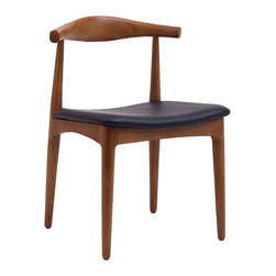 Baxton Studio - Tracy Wood Dining Chair with Faux Leather Seat - This Danish modern-inspired chair with teak finish will look equally good at your dining table, card table, kitchen table or as extra seating for guests. How can you possibly pass it up?