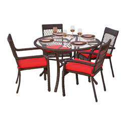 Forever Patio - Santa Monica 5 Piece Outdoor Wicker Dining Set, Red Cushions - Add some flair to your outdoor dining space with the Forever Patio 5 Piece Santa Monica Outdoor Wicker Dining Set (SKU FP-SM-5DN-CP). A dining table made from High-Density Polyethylene (HDPE) is decked with a circular tempered glass top that offers enough space to seat up to 4 people. This set features Cappuccino resin wicker with a full round design that creates a complex and luxurious look. Each strand of this outdoor wicker is made from High-Density Polyethylene (HDPE) and is infused with the rich color and UV-inhibitors that prevent cracking, chipping and fading ordinarily caused by sunlight, surpassing the quality of natural rattan. The outdoor wicker dining set set is supported by thick-gauged, powder-coated aluminum frames that make it extremely durable and resistant to corrosion. Each seat is accented with a bright Red outdoor-grade cushion for added comfort and style.