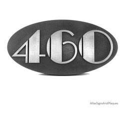 """Oval Art Deco Address Plaque 14"""" x 7"""" in Pewter Finish - Our Oval Art Deco Address Number Plaque evokes what is surely one of the most distinctive design movements of the 20th century. With our use of the Broadway Font, you can just smell the Chrysler Building and the 1920s and 1930s. Shown here in silver nickel finish with raised lettering style and the second picture shows recessed lettering style."""