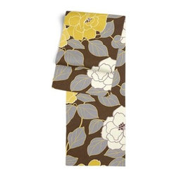 Brown & Yellow Modern Floral  Custom Table Runner - Get ready to dine in style with your new Simple Table Runner. With clean rolled edges and hundreds of fabrics to choose from, it's the perfect centerpiece to the well set table. We love it in this stylized oversized floral in modern hues of mustard and lilac gray against chocolate brown.