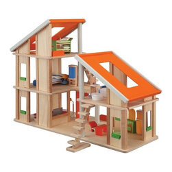 """Plan Toys - Chalet Dollhouse with Furniture - Dollhouse is drool worthy to the extreme. Like any smart green home, this dollhouse incorporates renewable energy design features such as passive solar via solar panels on the roof, and a wind turbine. An eco-friendly green plant biofacade is included to keep dollhouse temperatures perfect year round, along with a useful shade canopy that your child can pull down in order to prevent or allow sunlight and wind to flow through the house. Set includes: -Living Room. -Kitchen. -Bathroom. -Children's Bedroom. -Master Bedroom. Features: -Dollhouse collection. -For ages 3 years and up. -Environmentally safe materials. -Can be arranged and rearranged in various ways creating a larger play area. -Has huge skylight roofing. -Comes with 2 movable staircases. -Easy to access from every side. Specifications: -Material: Rubberwood. -Overall dimensions: 23.23"""" H x 4.72"""" W x 25.2""""L."""