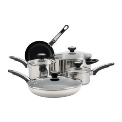 "Farberware Cookware - Farberware 12 Pc. Cookware Set Stainless Steel - Farberware High Performance stainless Steel 12-Piece Cookware Set - Includes 1-qt. and 2-qt. covered saucepans, 5-qt. dutch oven, 8-"" aluminun nonstick skillet and 4 prestige tools - slotted spoon, slotted turner, solid spoon."