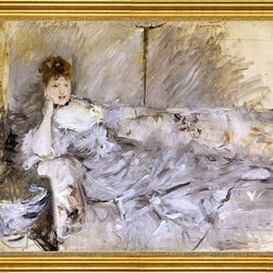 "Berthe Morisot-16""x20"" Framed Canvas - 16"" x 20"" Berthe Morisot Young Woman in Grey Reclining framed premium canvas print reproduced to meet museum quality standards. Our museum quality canvas prints are produced using high-precision print technology for a more accurate reproduction printed on high quality canvas with fade-resistant, archival inks. Our progressive business model allows us to offer works of art to you at the best wholesale pricing, significantly less than art gallery prices, affordable to all. This artwork is hand stretched onto wooden stretcher bars, then mounted into our 3"" wide gold finish frame with black panel by one of our expert framers. Our framed canvas print comes with hardware, ready to hang on your wall.  We present a comprehensive collection of exceptional canvas art reproductions by Berthe Morisot."