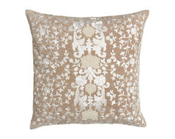 "Callisto Home - Callisto Home Square Pillow with Natural Ground, 22""Sq. - Creamy bed linens from Callisto Home showcase a modernized Victorian-lace design created with embroidered appliques. Duvet covers and shams are made of linen. Taupe dust skirt with 20"" drop is rayon. Pillows are cotton with feather/down fill. Oblon..."