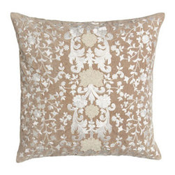 """Callisto Home - Callisto Home Square Pillow with Natural Ground, 22""""Sq. - Creamy bed linens from Callisto Home showcase a modernized Victorian-lace design created with embroidered appliques. Duvet covers and shams are made of linen. Taupe dust skirt with 20"""" drop is rayon. Pillows are cotton with feather/down fill. Oblon..."""