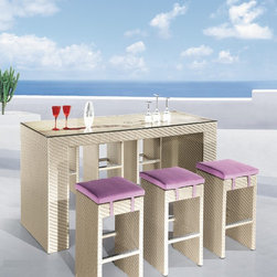 Patio Bar Set - This gorgeous patio bar set is a bit of paradise with its sleek lines, textured finish and soft lilac cushions. Left freestanding, it can seat six and double as a dining set for light fare. If I were lucky enough to get a seat, I would stay put for fear of losing it.