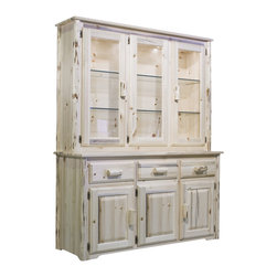Montana Woodworks - Montana Woodworks China Hutch in Clear Lacquer - The china hutch by Montana Woodworks is a beautiful and rustic piece of furniture that is suitable for displaying your finest china in virtually any home. It is handcrafted and finished in natural lacquer. It comes with glass shelves which are adjustable and includes lighting designed to accent your china to make it look its best. Underneath the main glass doors, the hutch features three drawers and three small storage doors to provide additional space. This piece comes with a separate sideboard that is placed in the hutch to hold all of your necessities. A 20 year warranty is also included at no extra charge.