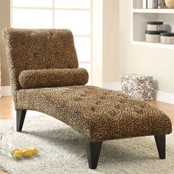 Coaster - 902076 Chaise - Relax on this button tufted chaise wrapped in an ultra soft leopard patterned velvet with feet in a black finish. Small bolster accent pillow included.