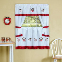 Achim - Achim Gala Embellished Cottage Curtain Set - GLCS24RD12 - Shop for Curtains and Drapes from Hayneedle.com! The Achim Gala Embellished Cottage Curtain Set features a tiered pair and tailored topper decorated in mouthwatering apples and solid red banding. This scrumptious set is perfect for a kitchen window and comes with dark red tiebacks for letting in a little light.About Achim Importing Established in 1962 by its founder and current president Achim's home furnishing lines include many ready-made products specializing in decorative styles for the window and floor. Priding themselves on offering outstanding value Achim Importing puts the highest quality standards on all of their products. With a wide range of clients including major mass merchants home centers catalogs internet building suppliers and more Achim stocks most of their products in their 500 000-square-foot North Brunswick New Jersey warehouse so they can ship everything promptly.