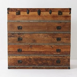 """Anthropologie - Traveler Chest - Four drawers and one top compartmentReclaimed pine, poplar plywood, steel48""""H, 50""""W, 18""""DImported"""