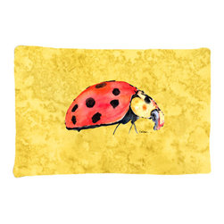 Caroline's Treasures - Lady Bug on Yellow Fabric Standard Pillowcase Moisture Wicking Material - Standard White on back with artwork on the front of the pillowcase, 20.5 in w x 30 in. Nice jersy knit Moisture wicking material that wicks the moisture away from the head like a sports fabric (similar to Nike or Under Armour), breathable performance fabric makes for a nice sleeping experience and shows quality. Wash cold and dry medium. Fabric even gets softer as you wash it. No ironing required.