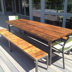 Reclaimed Antique Pine Dining Table and Benches with Tubular Steel Base - Antique Reclaimed Pine Dining Table and Benches with Tubular Steel Base