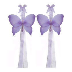 "Bugs-n-Blooms - Butterfly Tie Backs Purple Crystal Nylon Butterflies Tieback Pair Set Decor - Window Curtains Holder Holders Tie Backs to Decorate for a Baby Nursery Bedroom, Girls Room Wall Decor - 5""W x 4""H Crystal Curtain Tieback Set Butterfly 2pc Pair - Beautiful window curtains tie backs for kids room decor, baby decoration, childrens decorations. Ideal for Baby Nursery Kids Bedroom Girls Room.  This gorgeous butterfly tieback set is embellished with sequins, glitter and has a beaded body.  This pretty butterfly decoration is made with a soft bendable wire frame & have color match trails of organza ribbons. Has 2 thick color matched organza ribbons to wrap around the curtains. Visit our store for more great items. Additional styles are available in various colors, please see store for details. Please visit our store on 'How To Hang' for tips and suggestions. Please note: Sizes are approximate and are handmade and variances may occur. Price is for one pair (2 piece)"