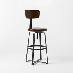 Adjustable Industrial Stool With Back - The rich, dark wood of the seat on this interesting base looks so cool. This would be great as an office or kitchen stool.