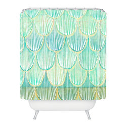 DENY Designs - Cori Dantini Turquoise Scallops Shower Curtain - Who says bathrooms can't be fun? To get the most bang for your buck, start with an artistic, inventive shower curtain. We've got endless options that will really make your bathroom pop. Heck, your guests may start spending a little extra time in there because of it!
