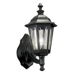 Progress Lighting - Progress Lighting P5826-31 Cast Lantern Series Single-Light Cast Aluminum Black - Classic and durable, this one light outdoor wall sconce is the perfect addition for those who need rugged durability without sacrificing style. Featuring a cast aluminum construction, a sweeping and slender support arm holds a lantern with a scalloped edged roof and shatter resistant clear acrylic beveled panels. The fixture covers a standard outlet box and is strong and sturdy enough to stand up to the elements.Features:
