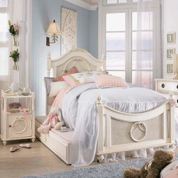 "Lea Industries - Lea Emma's Treasures 3 Piece Poster Kids' Bedroom Set in Vintage White - Inviting, casual and comfortable easily describes Emma's Treasures from Lea Furniture. Traditional styling mixed with a cozy time-worn appearance creates a collection of youth furniture sure to please any age girl. The distressed vintage white color finish, antiqued pewter-color hardware, the use of cane and crystal-cut mirrors all help create the shabby chic appeal of this group. Special features include vintage patterned drawer liners and hidden compartments on select pieces. Unique pieces include a vanity with bench, a mirrored door chest and a desk that can double as a larger vanity. Take a look at Emma's Treasures and create a room your child will treasure for years to come. And, as always, Emma's Treasures comes with the quality you expect from Lea Furniture. Safety is one of the key elements parents look for when buying products for their children. As a supplier of children's furnishings, we are committed to ensuring our products meet or exceed the safety requirements defined by the Consumer Product Safety Commission and the ASTM. Design and function combined with safety features makes the Emma's Treasures collection an ideal choice for any child's room. - 606-930-40-PSB-3-SET.  Product features: Belongs to Emma's Treasures Collection; Twin Poster Bed: 42""W x 76""D x 55""H; Full Poster Bed: 57""W x 76""D x 58""H; Enchanting time-worn appearance; Durable all-wood construction; Attractive woven cane pattern; Slat pack supports mattress and provides stability; Available in Twin or Full sizes; Available with Underbed Storage Unit; Underbed Storage Unit:. Product includes: Poster Bed (1); Cabinet Nightstand (1); Underbed Storage Unit (1). 3 Piece Poster Kids' Bedroom Set in Vintage White belongs to Emma's Treasures Collection by Lea."