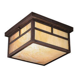 BUILDER - BUILDER 10957CV Alameda Arts and Crafts/Mission Outdoor Flush Mount Ceiling Ligh - The Alameda Collection brings its simple, down-to-earth design to your outer decor adding an unassuming dynamic to your home's profile. Each fixture utilizes a classic lantern shape. Our exclusive Canyon View finish and Honey opalescent glass panels, add instant beauty and ambiance, making the Alameda Collection a family of outdoor fixtures that garners attention wherever you install it. If you enjoy the look of our Alameda Collection, but want a slimmer profile for you porch, this energy efficient 2-light flush mount ceiling lantern is a fine selection. Included is a bottom honey glass panel to give a special glow. U.L. listed for damp location and 90° C Wire Rated.