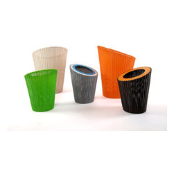 Lebello - Lebello Indoor/ Outdoor Round Basket - Penguin - Pen and Penguin by Lebello are a series of functional indoor or outdoor containers that can be use as water basket, gold holder or paper bins. The design features colored anodized aluminum rings.